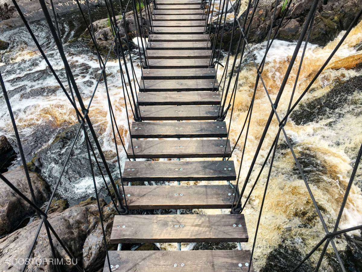 Веревочный мост над Рускеальским водопадом